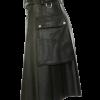 Black Leather Kilt With Stylish Pockets