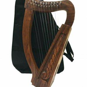 Irish Harp 12 Strings, Sheesham Wood + Free Carry Bag & Tunning key