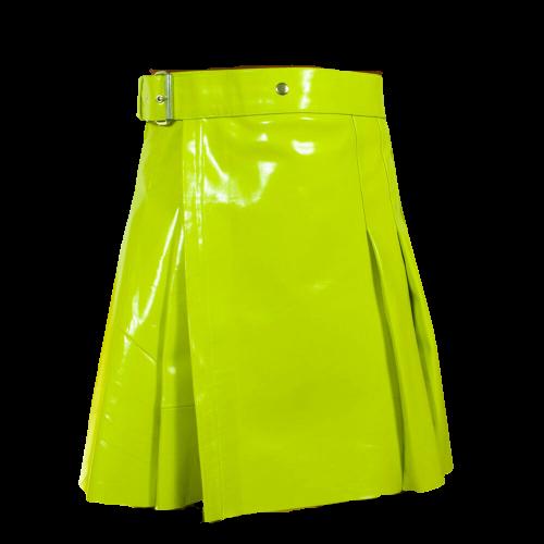 2020 New leather Lime Green utility kilts women Scottish kilt