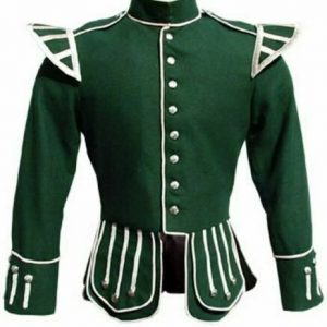 100% Wool Blazer New Military Piper Drummer Doublet Tunic Pipe Band Green Jacket