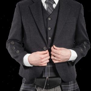 Braemar Charcoal Tweed Jacket & 5 buttons Vest