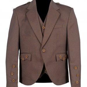 Light Maroon Scottish Tweed Argyle Kilt Jacket With 5 Button Vest