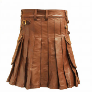 Brown Leather Utility Kilt With Sporran