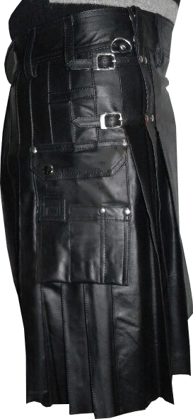 Buy New Black Mens Leather Kilts For Men