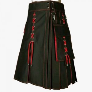 2020 Buy New Kiltish Black & Red Scottish Stunning utility kilt expedited shipping