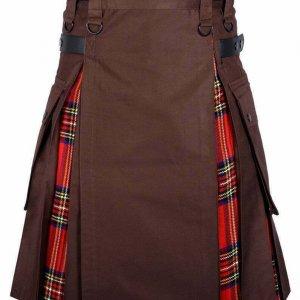 Men's High-Quality Hybrid Kilt Brown Cotton and Royal Stewart Tartan