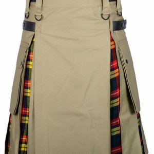 Men's High Quality Hybrid Kilt Khaki Cotton and Buchanan Tartan