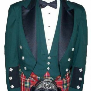 Green Prince Charlie Jacket With Waistcoat 100% Wool Custom Irish Kilt Jacket