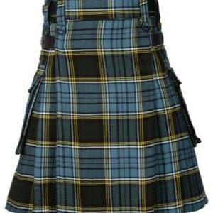 Men's Scottish Highland Anderson Tartan Utility Kilt with Cargo Pockets