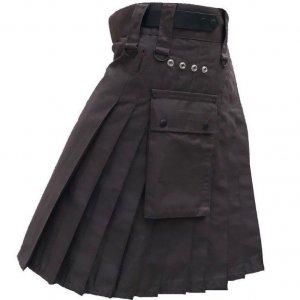 Men's Brown Genuine Leather Straps Fashion Sport Cotton Utility Kilt