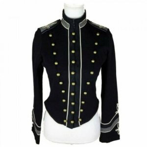 New Black Women Officer Jacket WOOL Coat Braid Jacket