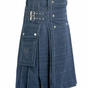 New Scottish Men Blue Denim Tradition utility kilt