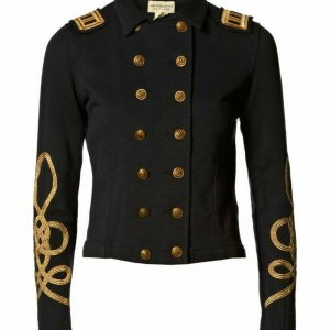 New Black Ladies officers' s Wool Braid Jacket With Embroidered Cuff