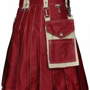 Brand New Men & Women Red Scottish Utility CARGO Kilt