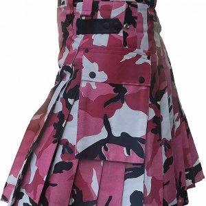 Men Pink Camouflage Cotton Utility Kilt, Fashion Sport Utility Kilt