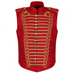 Red Mens Military Hussar Drummer Vest Waistcoat