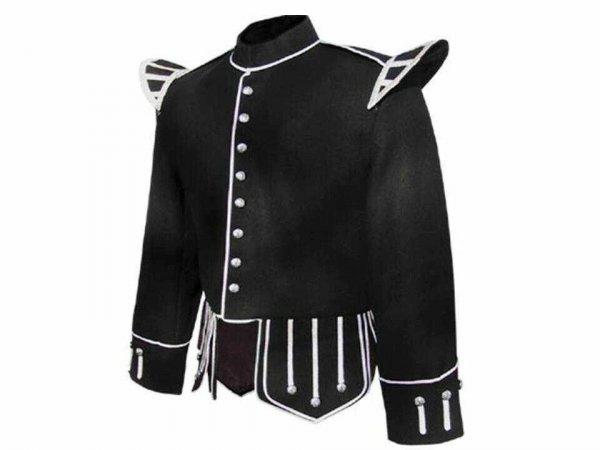 100% Wool Blend Military Piper Drummer Doublet Highland Jacket Black