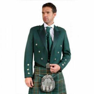 Green Irish Prince Charlie Kilt Jacket with Waistcoat/Vest