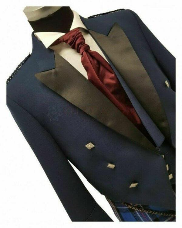 Prince Charlie Jacket Blue With Waistcoat Made to Measure Scottish Kilt Jacket
