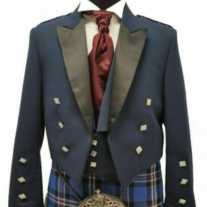 Prince Charlie Jacket Blue With Waistcoat Made to Measure Scottish Kilt Jacket