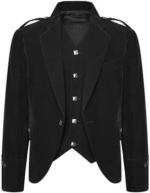 Men's Black Color Velvet Scottish Highland Argyle Kilt Jacket & Waistcoat