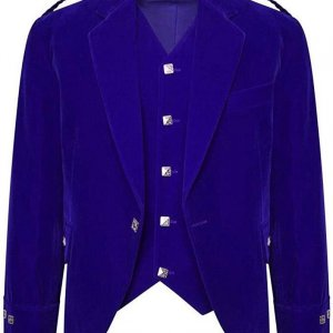 Men's Blue Color Velvet Scottish Highland Argyle Kilt Jacket & Waistcoat