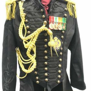 Steampunk Military's Style Coat With Black Braid