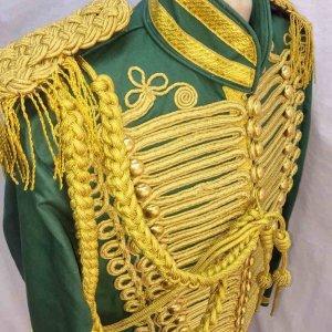 Steampunk Men Ceremonial Hussar Officer Green Military Jacket