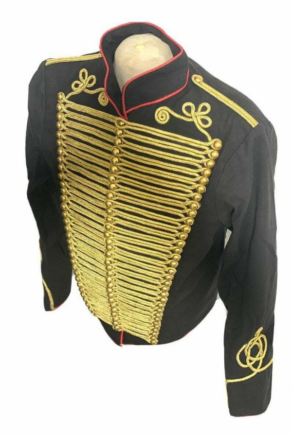 Men Ceremonial Hussar Black Military Jacket, Gold Braiding