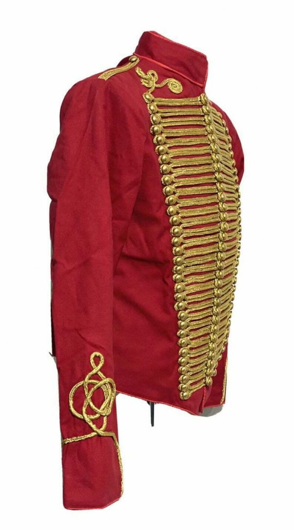 Men Ceremonial Hussar Red Military Jacket with Gold Braiding
