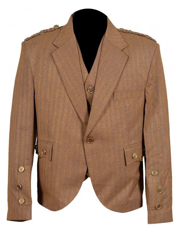 Goldish Brown Argyle Scottish Kilt Jacket with Vest