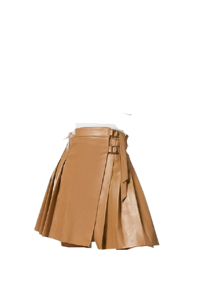 Leather Pleated Buckle Kilt Skirt. Crafted using our premium leather, this skirt is a special piece for both now and next.