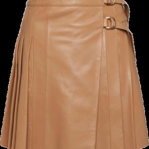 Leather Pleated Buckle Kilt Skirt