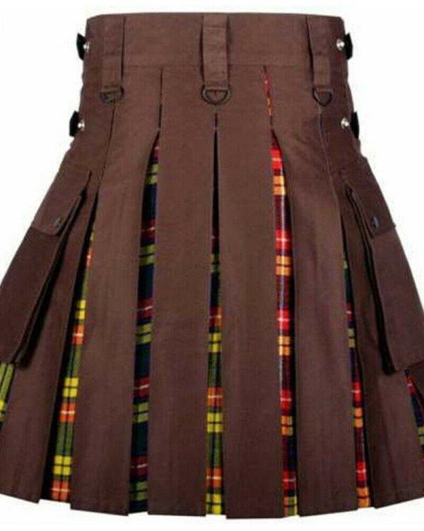 Brown Kilt With Buchanan Tartan Pleats Utility Kilts