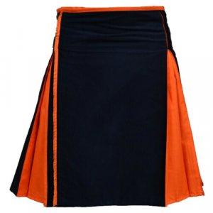 Black Hybrid Kilt With Orange Pleats Scottish Kilts