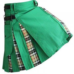 Green Hybrid Kilt With Thompson Camel Tartan Utility Kilts