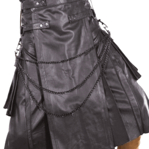GOTHIC LEATHER KILT WITH CHAIN