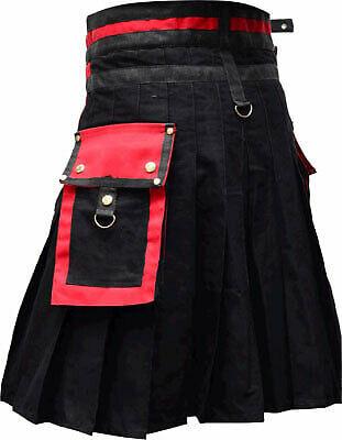 New Scottish Modern Utility Red & Black Plaid Kilt For Men